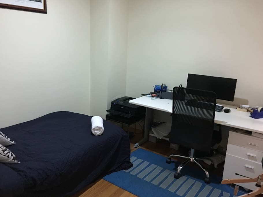 Pull out futon and office space located downstairs (available to be made up)