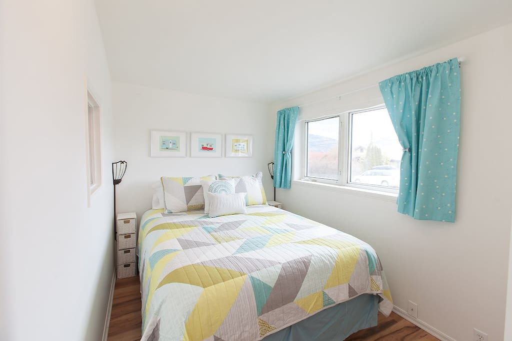 Queen sized bed, closet with chest of drawers