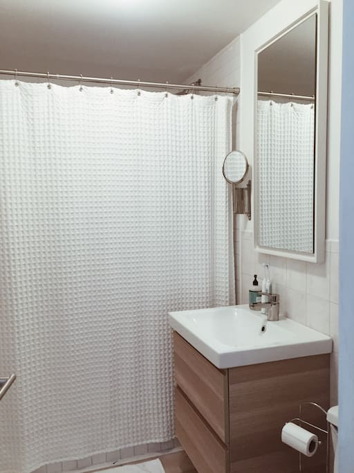 Bathroom with extra large shower. (no tub)