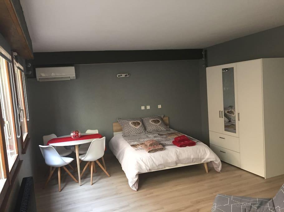 RDC de ma maison avec chambre  de 28 m2 équipée d'une Climatisation réversible , TV et Wifi gratuit ainsi qu'un réfrigérateur et une cafetière Dolce Gusto. Avec accès direct à l'espace piscine.