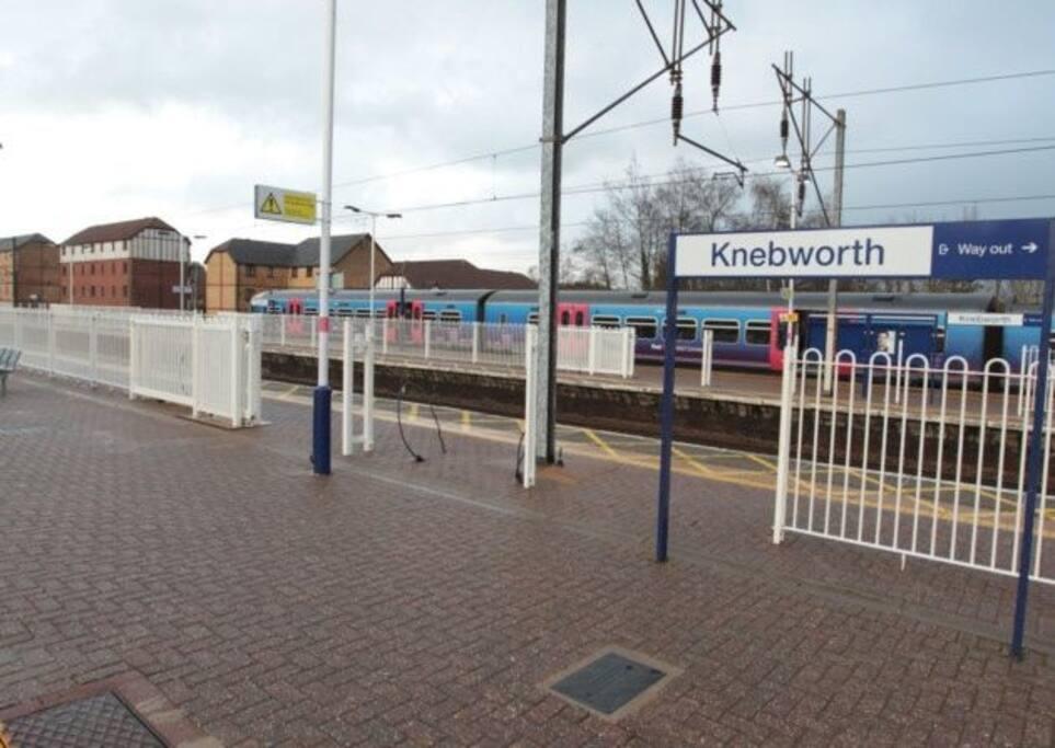 Knebworth station. 15 mins walk. 20 mins into kings cross