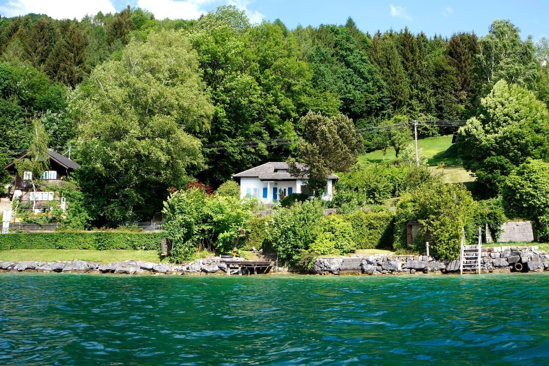 Blick vom See mit Badeplatz
