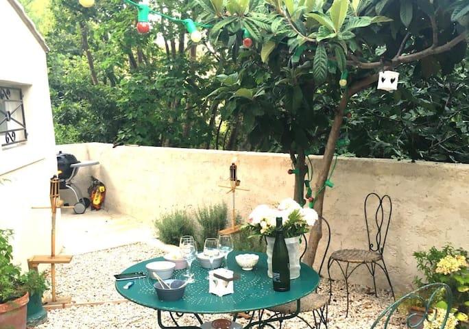 Maison de village, terrasse vue Rhône abri voiture