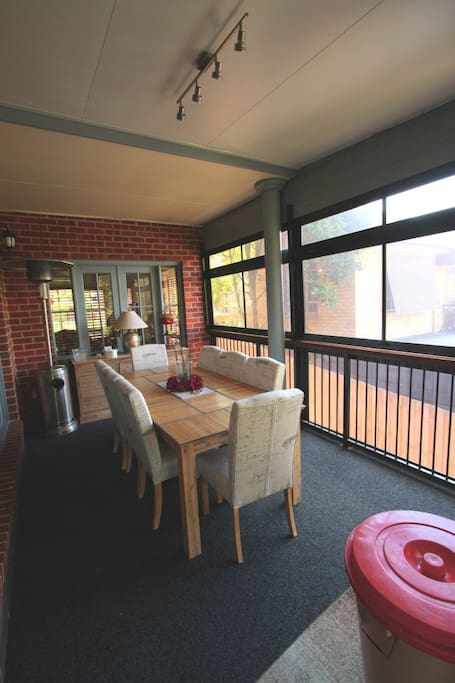 The Dining Area in the covered Entertainment Deck area.