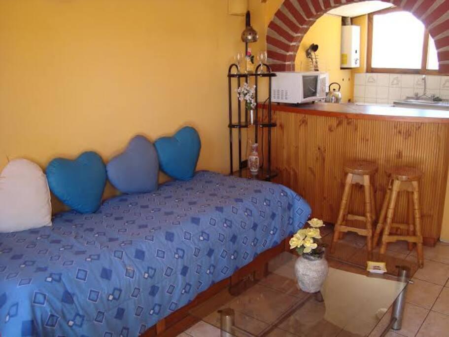 Amplia sala de estar con cama