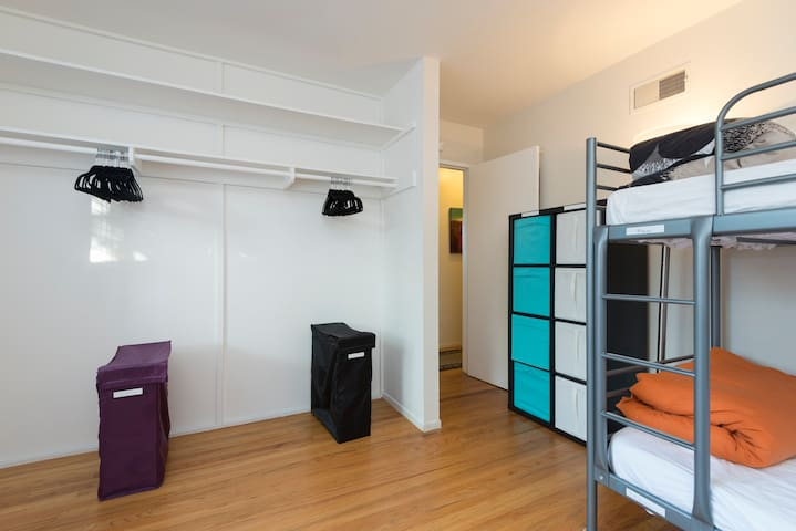 Large closets - hangers and hampers provided