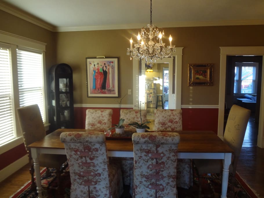 Beautiful formal dining room seats up to 8 people
