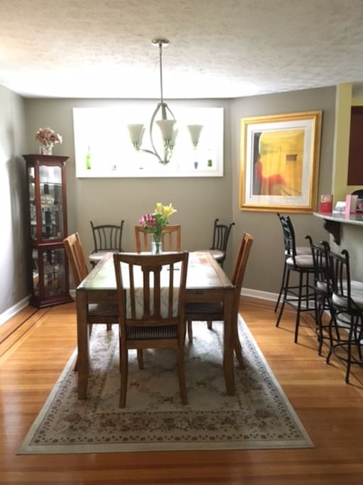 Dining table to accommodate 6 + 6 barstools & bar/tea cart