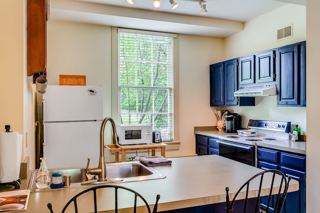 You'll find fully stocked kitchen with all cooking amenities.