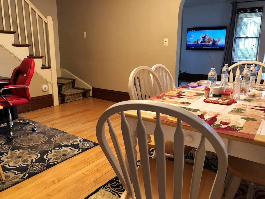 Dining table access to TV