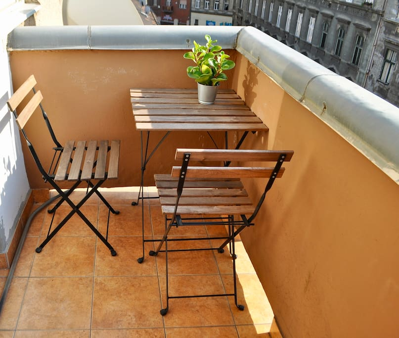 The balcony with a table for two