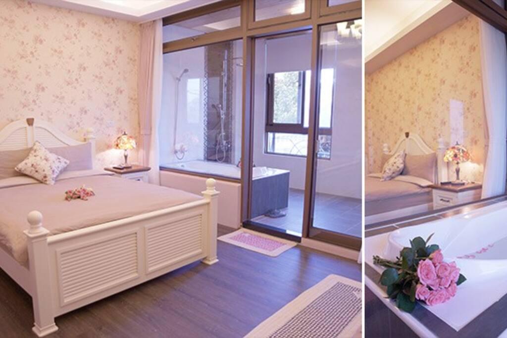 法式玫瑰2人房、有浴缸