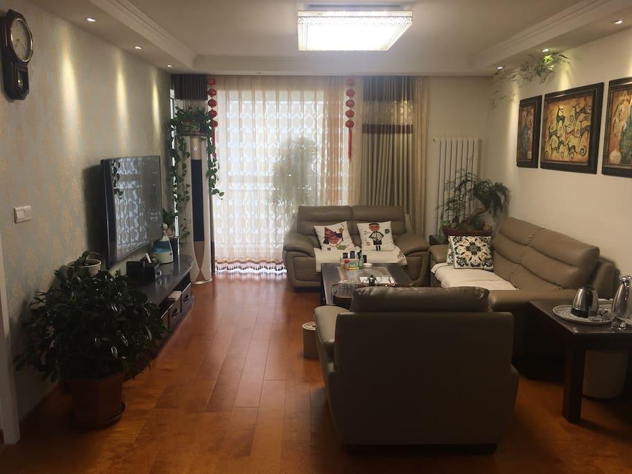 40平宽敞明亮的客厅+餐厅,顾家的真皮沙发,实木家具,5匹柜机空调