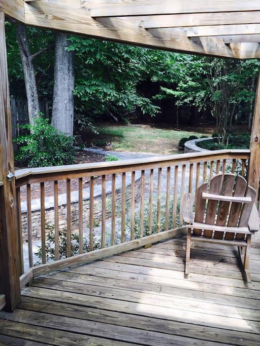 Beautiful slate patio with overlooking deck