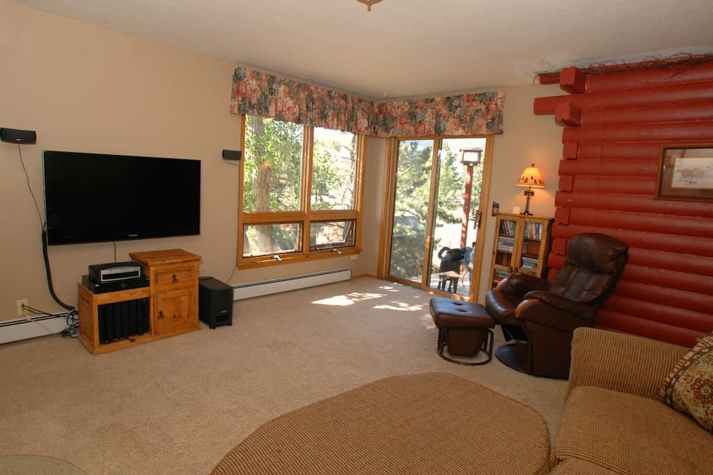 Lower living room with TV