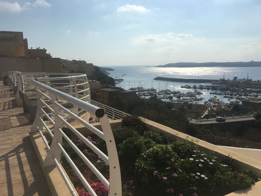 This is the Belveder, a beautiful view of the Mgarr Harbour, a minute walk down the road from the apartment. Not the balcony :)