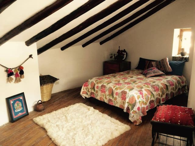recently renovated cosy double bedroom with mountain view