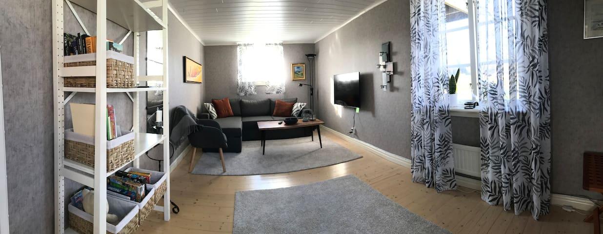 Vardagsrum med bäddsoffa och smart TV. Wi-Fi.