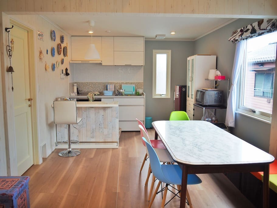 The combination kitchen-dining room.