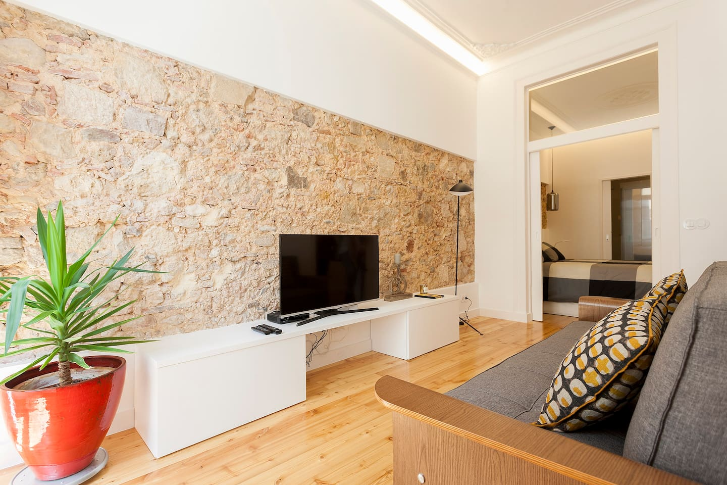 Charming living room with historic stone wall, good Wi-Fi Internet & flat TV