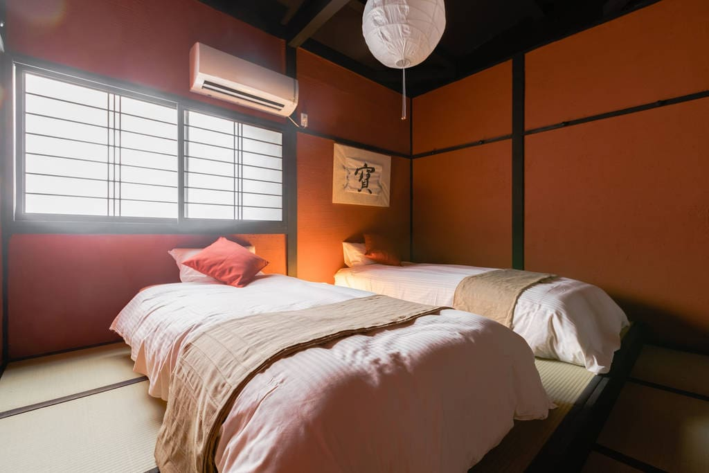 enjoy comfortable beds with a vintage atmosphere