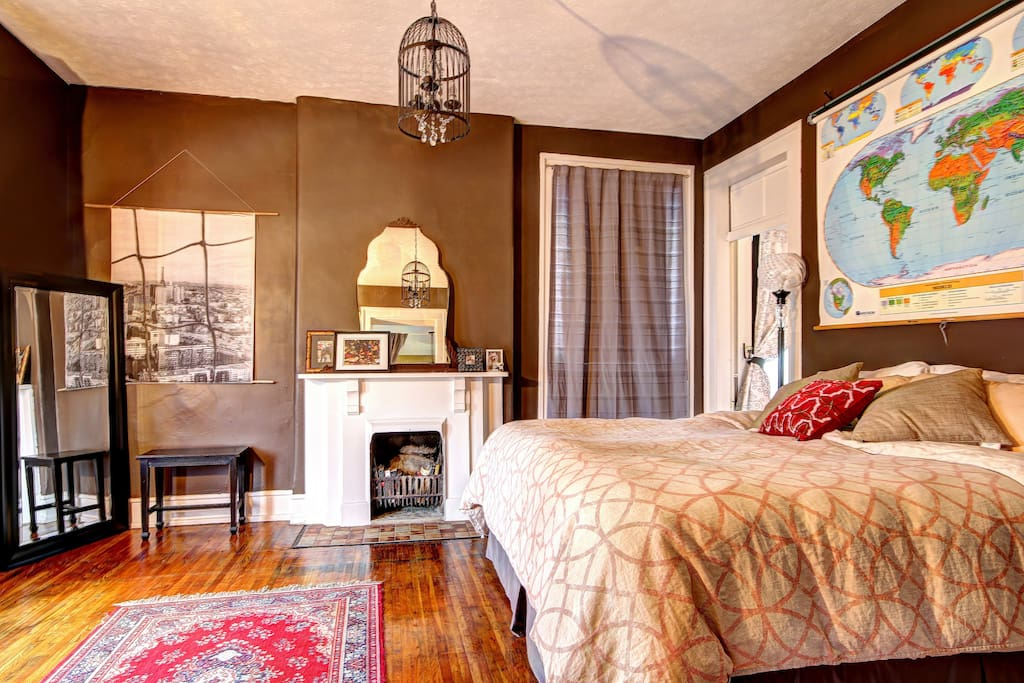 The second floor bedroom, aka the Map Room, has a super comfy king size pillowtop bed