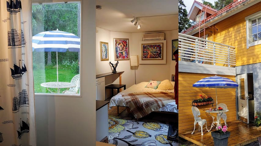Huoneisto omalla terassilla ja sisäänkäynnillä.