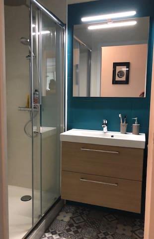 La salle de bain fraîchement rénovée