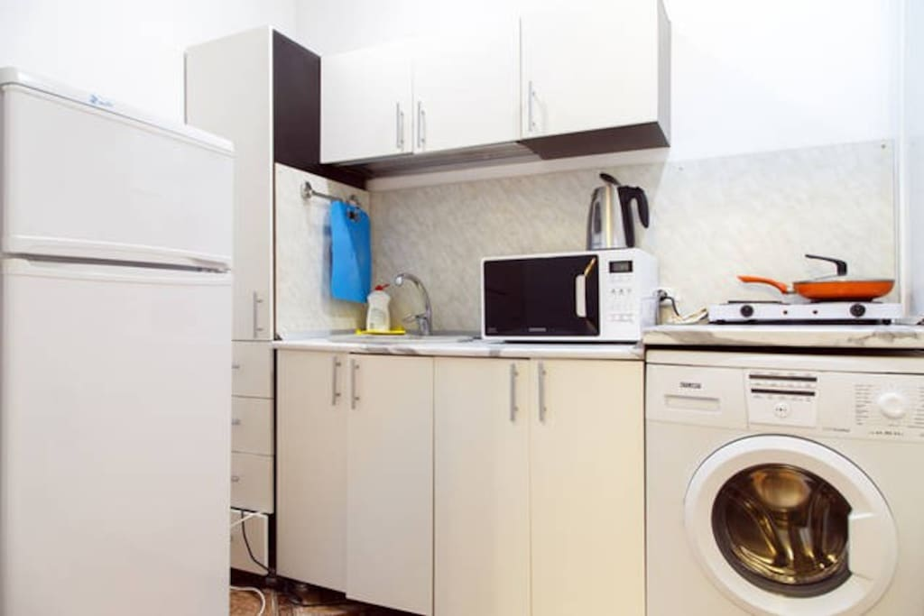 Very well equipped kitchen,tiles for cooking, refrigerator, microwave,kettle, dishes - everything you could to prepare your favorite food or try the local delicacies without leaving home