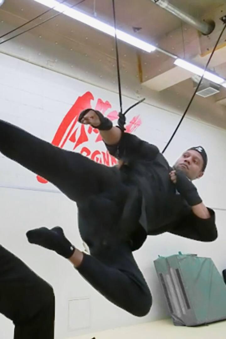 忍者の技で記念写真
