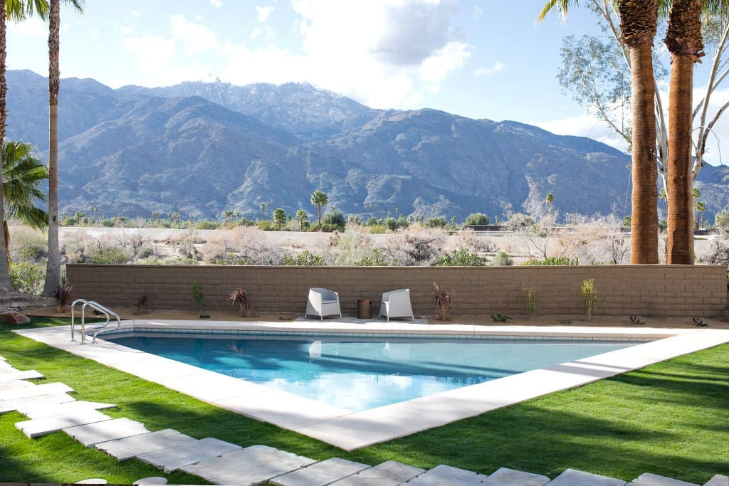 MOUNTAIN VIEWS FROM SWIMMING POOL - THE PEACH RESIDENCE - PALM SPRINGS VACATION RENTAL POOL HOME