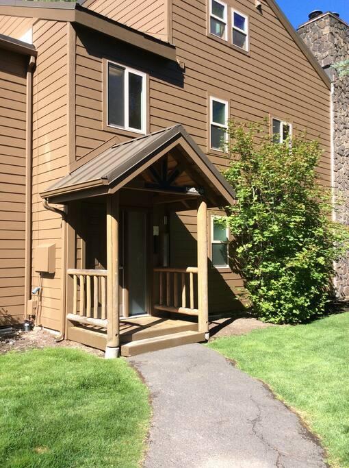 Front door of building. Entrance to our condo. Lockbox on right of door.