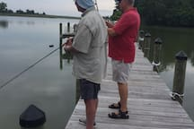 Fishing buddies. Fish right off the dock!