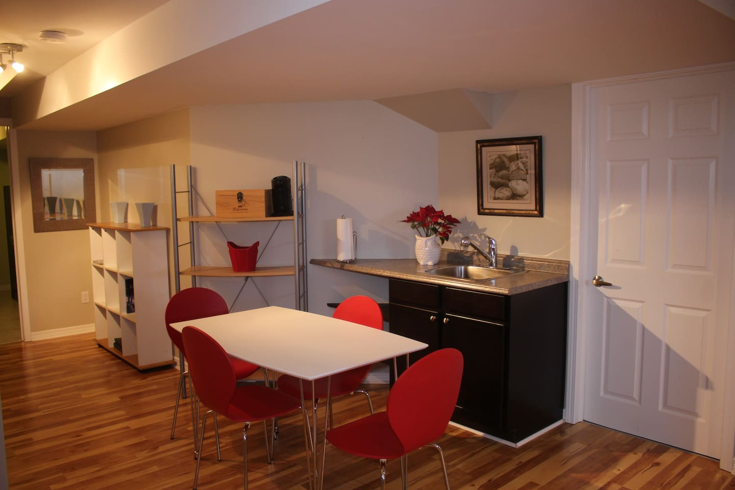 Private basement apartment with open floor plan, view to the kitchenette area