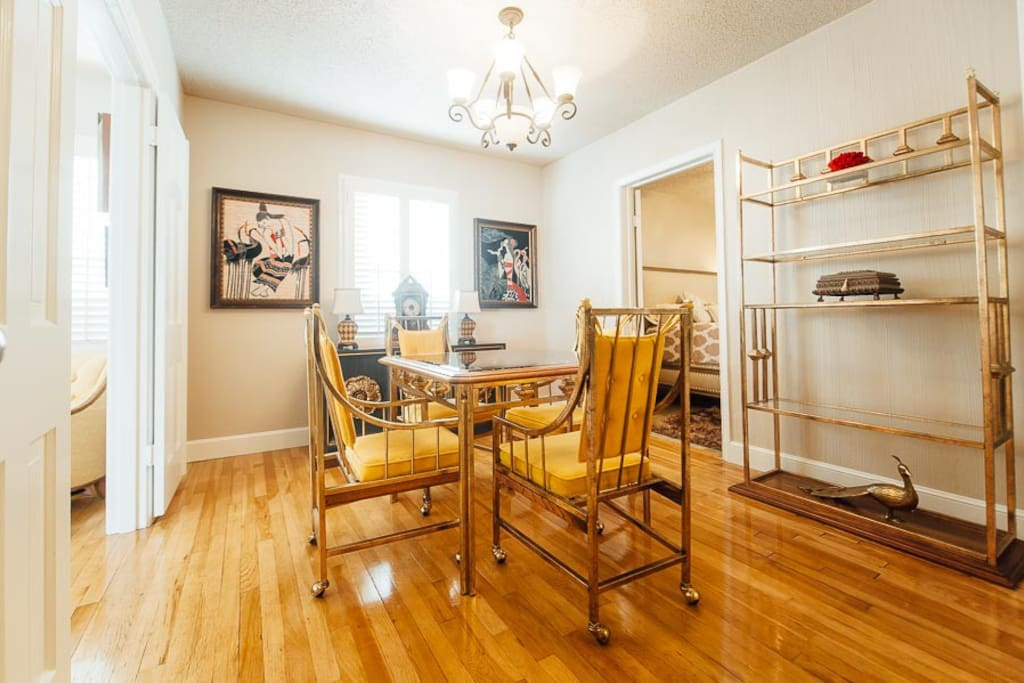 The formal dining room provides space for family meals, card games, or getting some work done.
