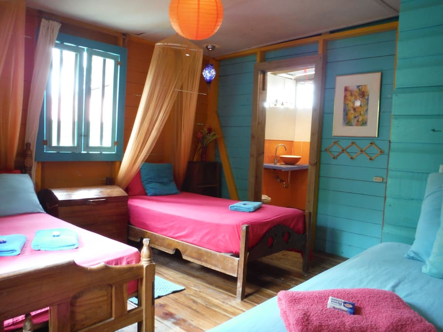 Both rooms have 3 beds and sleep up to 4 peolpe.