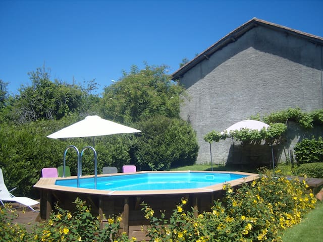 Private pool terrace in the garden.