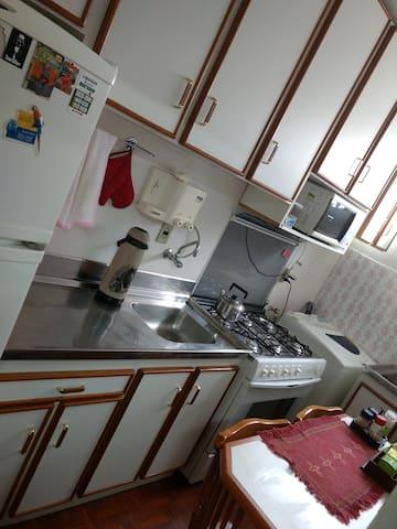 Cozinha com fogão, pia, microondas e geladeira.