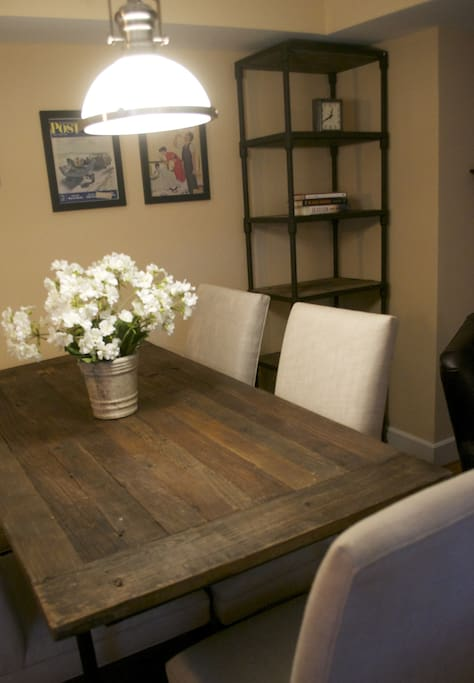 Make yourself at home in the dining area of the living/dining room.