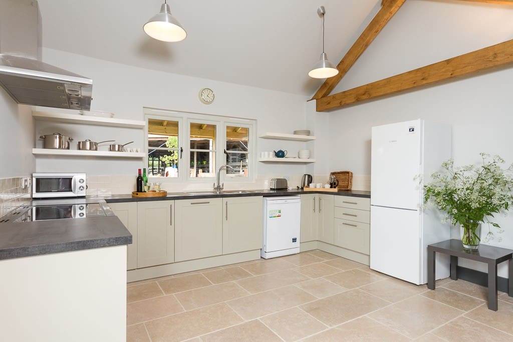 Fitted kitchen in living area