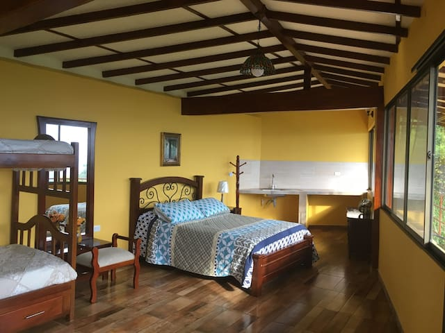Family suite,  with Mountain View. it have a one doble bed, and one bunk bed, total for 4 persons. with private washroom, and shower with hot water, and small kitchen sink for light food preparation.