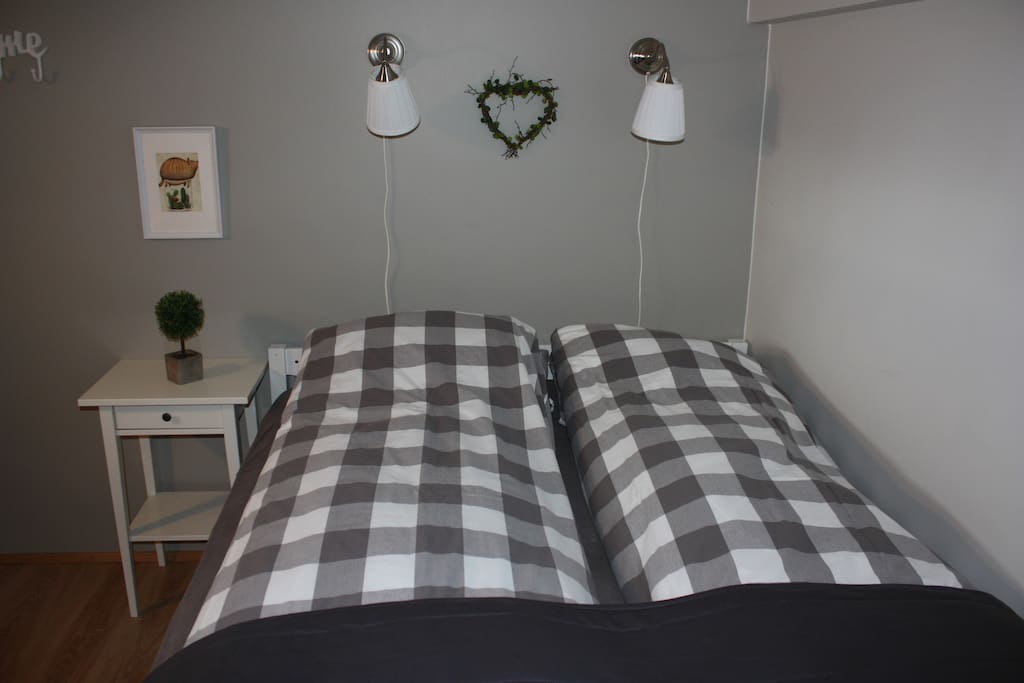 Queen size (160 cm), comfortable and clean, made-up bed just for you!