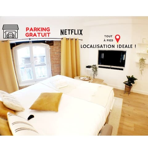 City center.covered parking.queen size bed.netflix