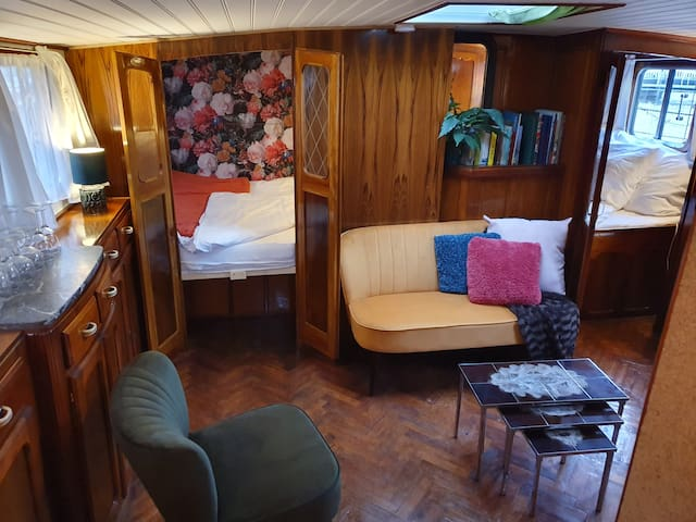 "Houseboat Wheelhouse on Authentic Ship ""Mizar"""