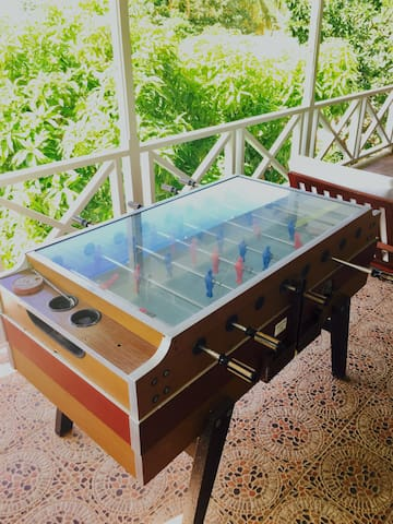 Bar foot ball table on terrace.