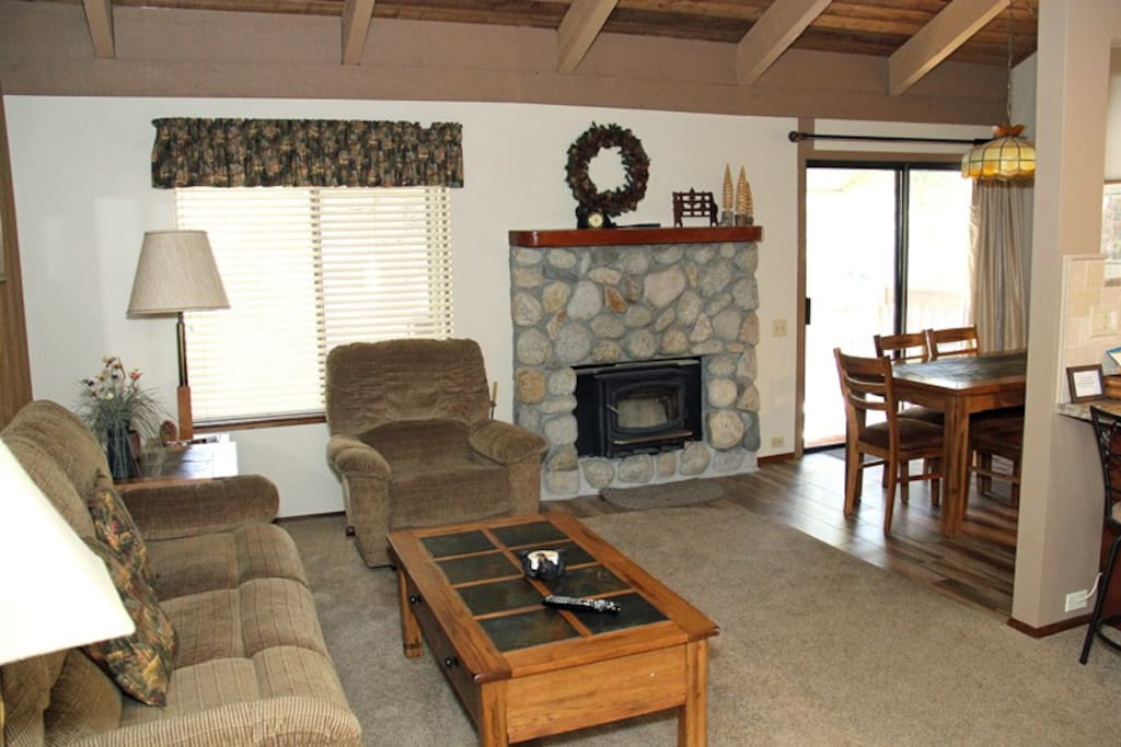 Mammoth Lakes Vacation Rental Sunshine Village 136 - Open Area Living Room Towards Dining Room and Kitchen