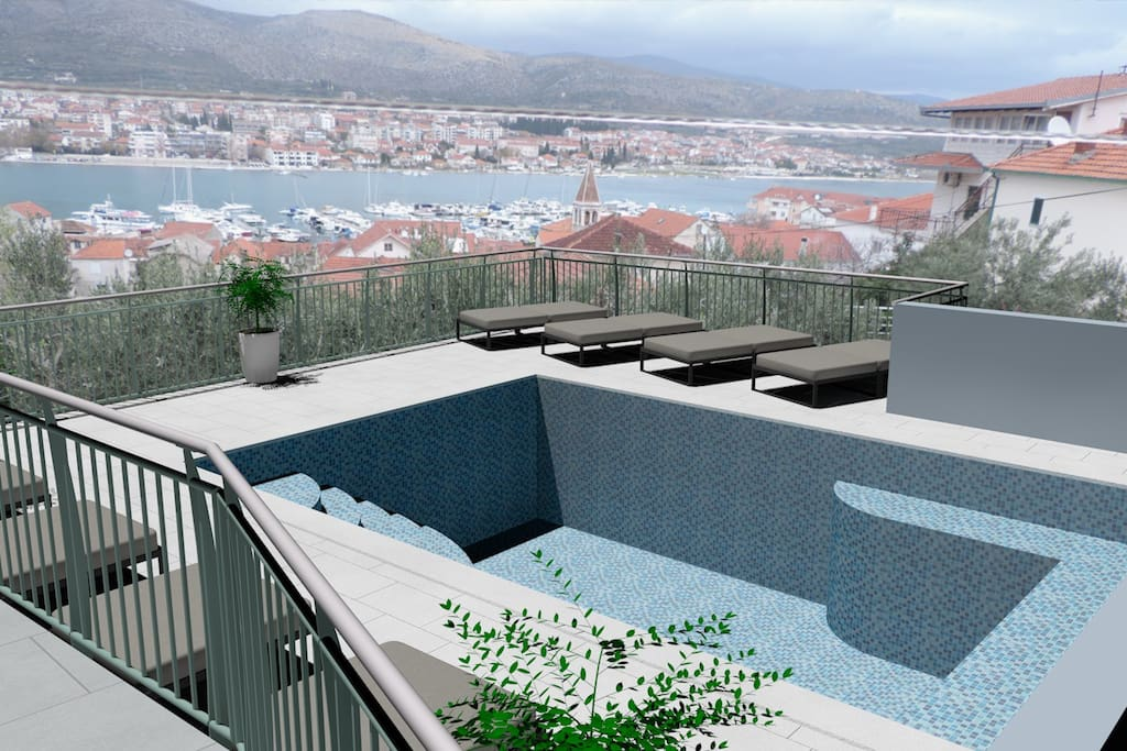 Furnished outdoor swimming pool