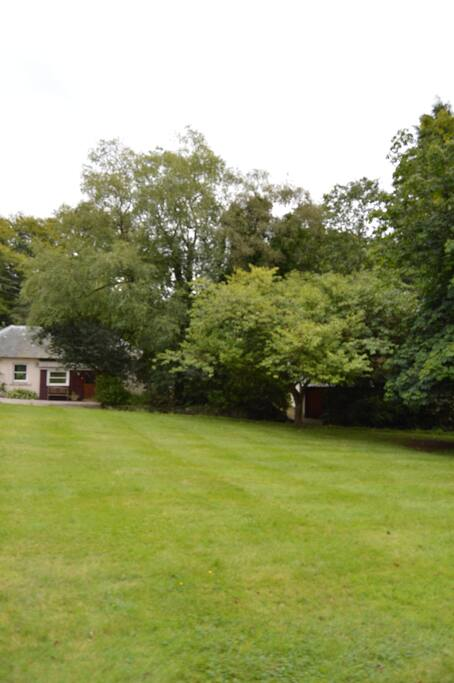 View across lawn to Fuchsia cottage