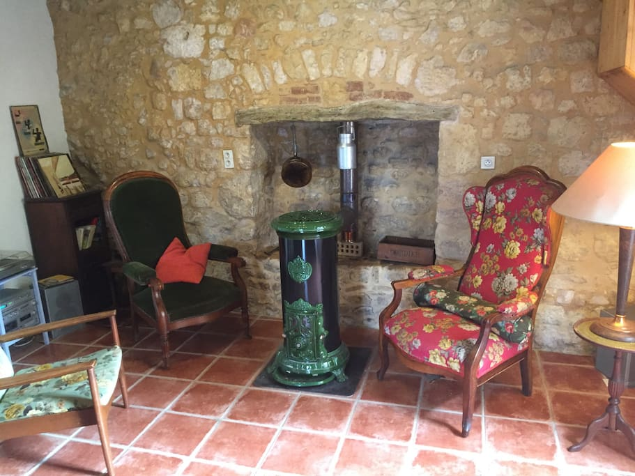 Heat is provided via a very efficient wood burning stove.