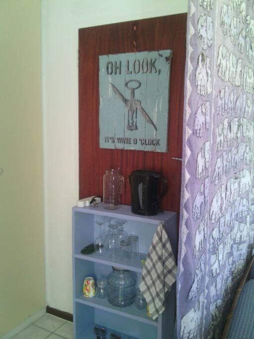 Coffee station and microwave